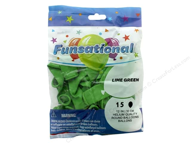 Pioneer Funsational Balloons 12 in. 15 pc. Lime Green