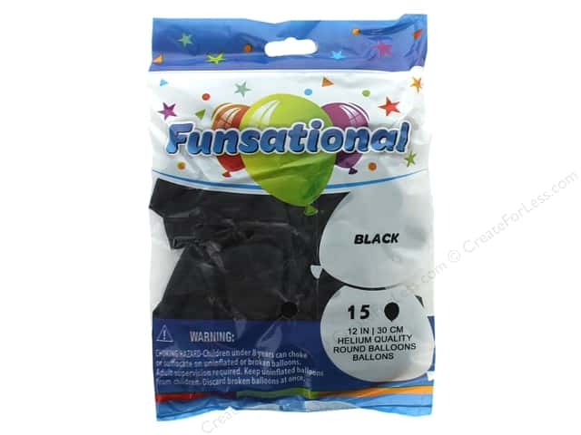 Pioneer Funsational Balloons 12 in. 15 pc. Crystal Black
