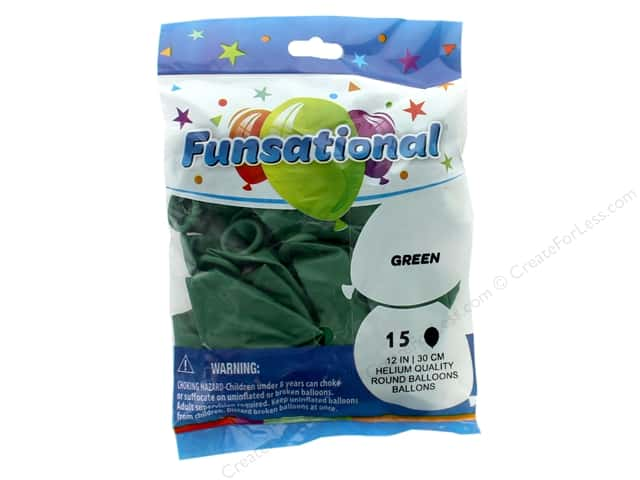 Pioneer Funsational Balloons 12 in. 15 pc. Green