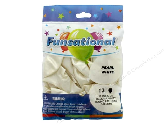 Pioneer Funsational Balloons 12 in. 12 pc. Pearl White