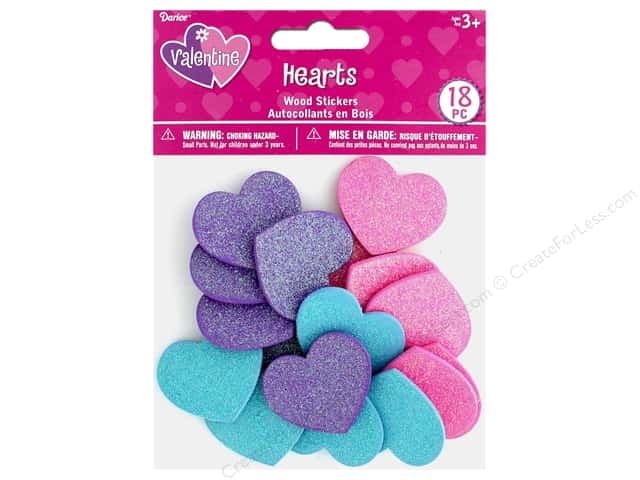 Darice Sticker Valentine Wood Glitter Hearts 18 pc