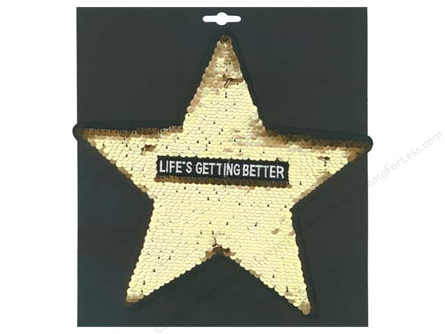 Mediac Applique Iron On XL Sequin Life Is Getting Better Gold 2 pc