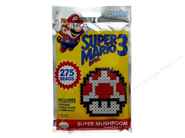 Perler Fused Bead Kit Trial 278 pc Super Mario Brothers 3 Super Mushroom