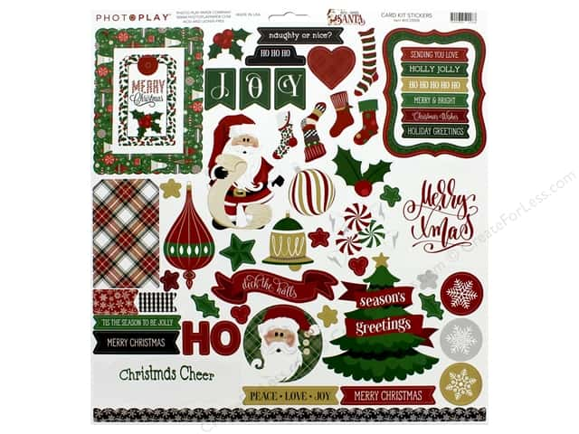 Photo Play Collection Here Comes Santa Card Kit Stickers