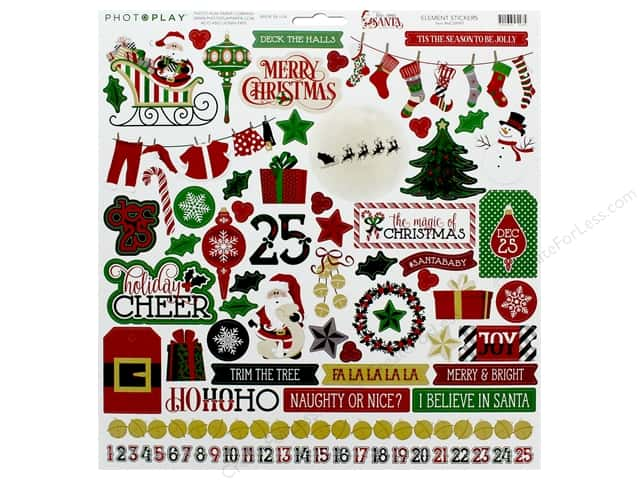 Photo Play Collection Here Comes Santa Sticker Element 12 in. x 12 in.
