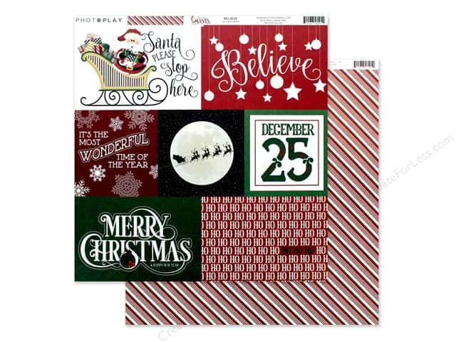 Photo Play 12 x 12 in. Paper Here Comes Santa Believe
