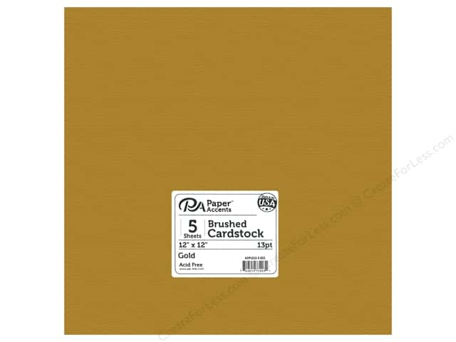 Paper Accents Cardstock 12 in. x 12 in. Brushed 13 pt Gold 5 pc