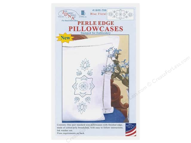 Jack Dempsey Pillowcase Perle Edge White Blue Floral