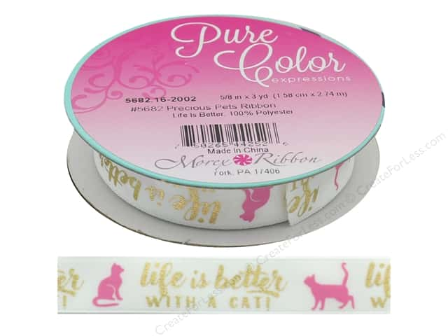 Morex Ribbon Precious Pets 5/8 in.x 3 yd Life Is Better