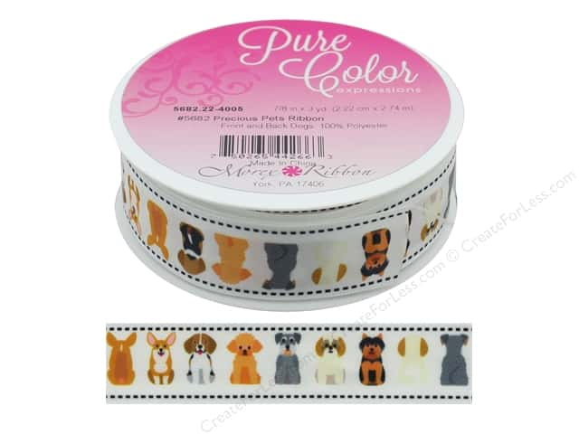 Morex Ribbon Precious Pets 7/8 in. x 3 yd Front & Back Dogs