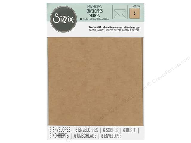 Sizzix Paper Envelopes A2 6 pc. Kraft