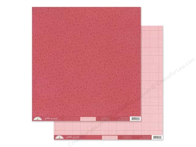 Doodlebug Collection Petite Prints Paper 12 in. x 12 in. Floral/Graph Ruby