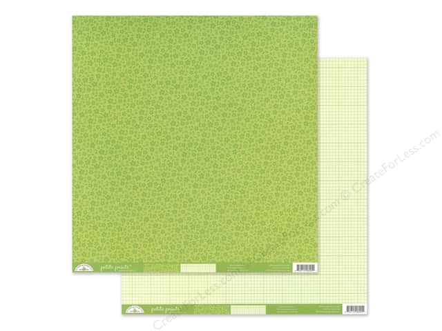 Doodlebug Collection Petite Prints Paper 12 in. x 12 in. Floral/Graph Limeade