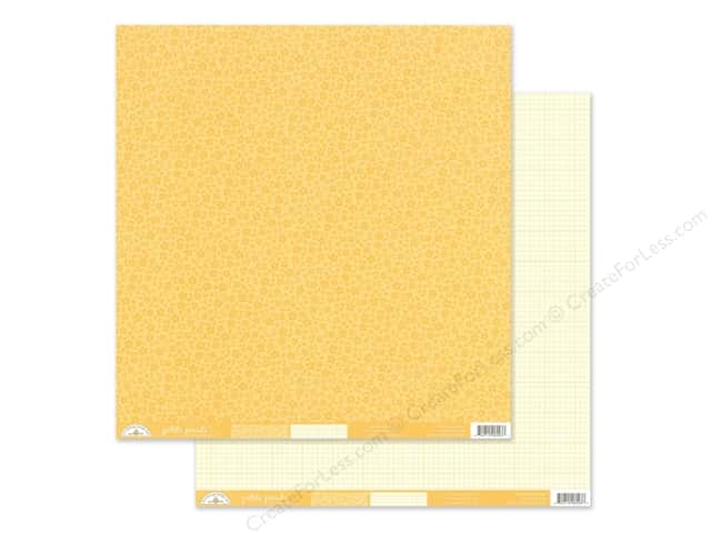 Doodlebug Collection Petite Prints Paper 12 in. x 12 in. Floral/Graph Lemon