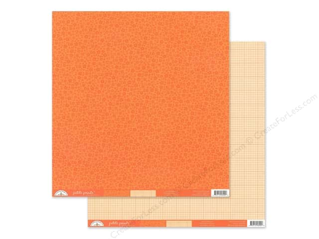 Doodlebug Collection Petite Prints Paper 12 in. x 12 in. Floral/Graph Mandarin