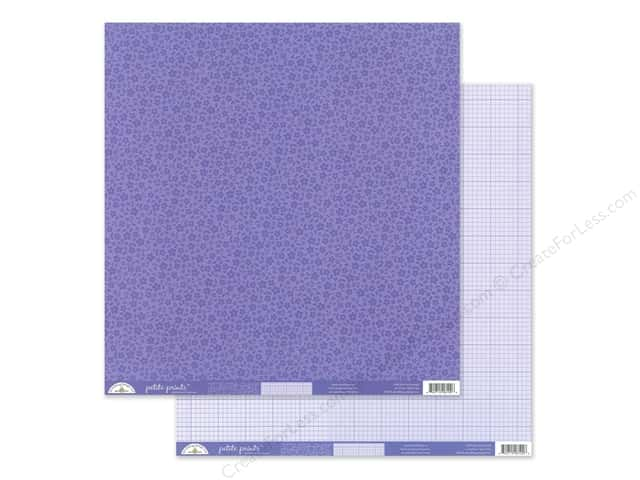 Doodlebug Collection Petite Prints Paper 12 in. x 12 in. Floral/Graph Lilac