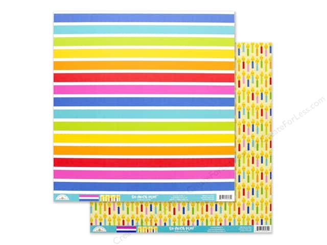 Doodlebug Collection So Much Pun Paper 12 in. x 12 in. Just My Stripe