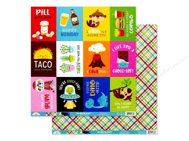 Doodlebug Collection So Much Pun Paper 12 in. x 12 in. Best I Ever Plaid