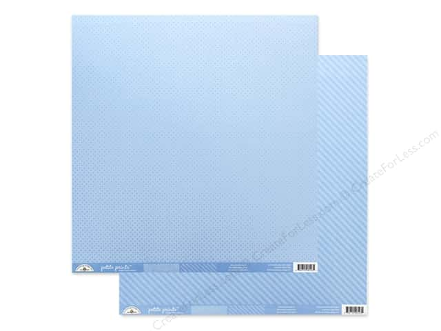 Doodlebug Collection Petite Prints Paper 12 in. x 12 in. Dot/Stripe Bubble Blue