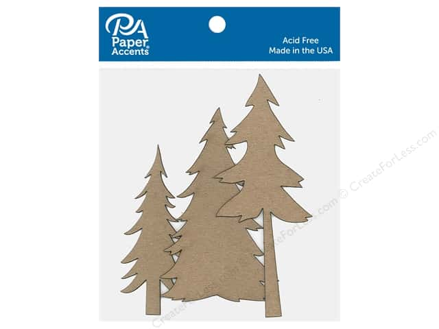 Paper Accents Chip Shape Fir Trees Assortment Natural 6 pc
