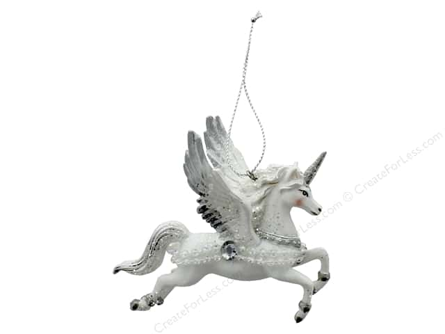 Sierra Pacific Crafts Decor Ornament Flying Unicorn 3.63 in.  White