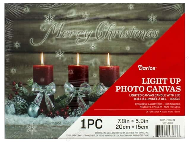 Darice Light Up Canvas LED 7.8 in. x 5.9 in. Candle