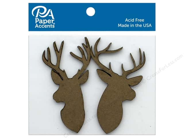 Paper Accents Chip Shape Deer Trophy Assortment Natural 6 pc