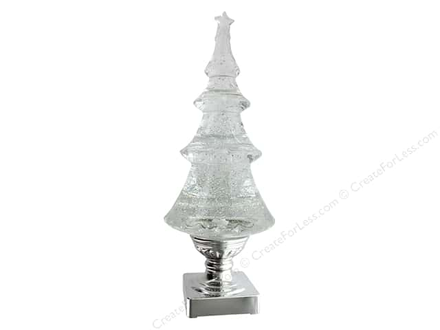 Sierra Pacific Crafts Decor Lighted Christmas Tree 13 in. x 5 in. Silver
