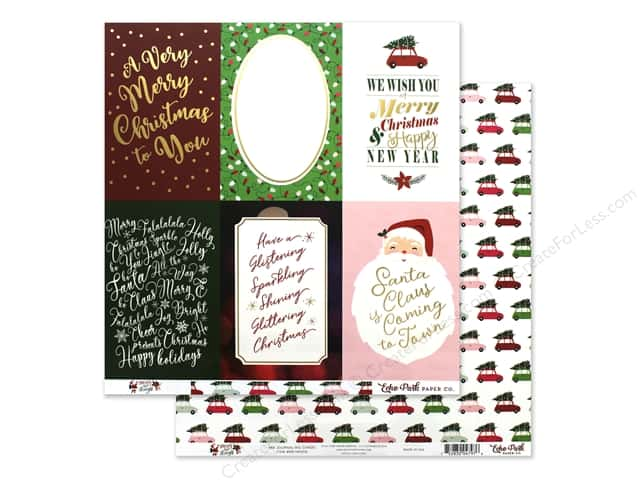 Echo Park Collection Merry & Bright Paper 12 in. x 12 in. Journaling Cards 4 in. x 6 in.