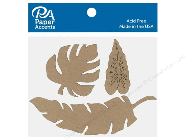 Paper Accents Chip Shape Leaves Assorted Natural 6 pc