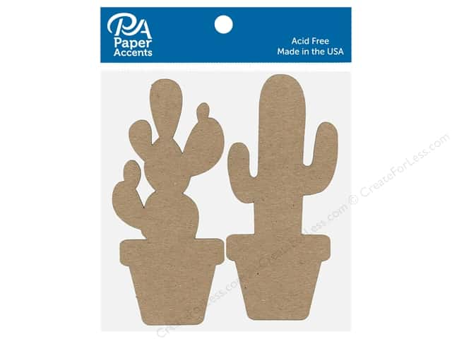 Paper Accents Chip Shape Cactus Assorted Natural 8 pc