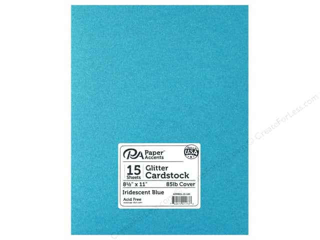 Paper Accents Glitter Cardstock 8 1/2 x 11 in. Iridescent Blue 15 pc.