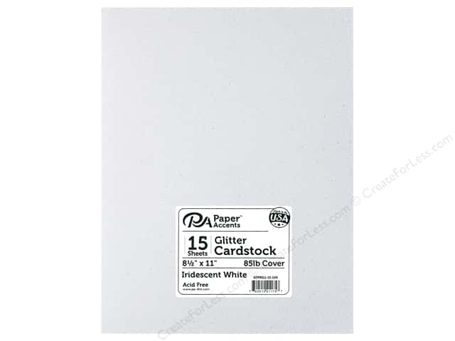 Paper Accents Glitter Cardstock 8 1/2 x 11 in. Iridescent White 15 pc.
