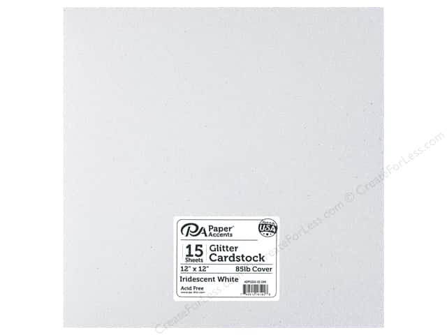 Paper Accents Glitter Cardstock 12 x 12 in. #G68 Iridescent White 15 pc.