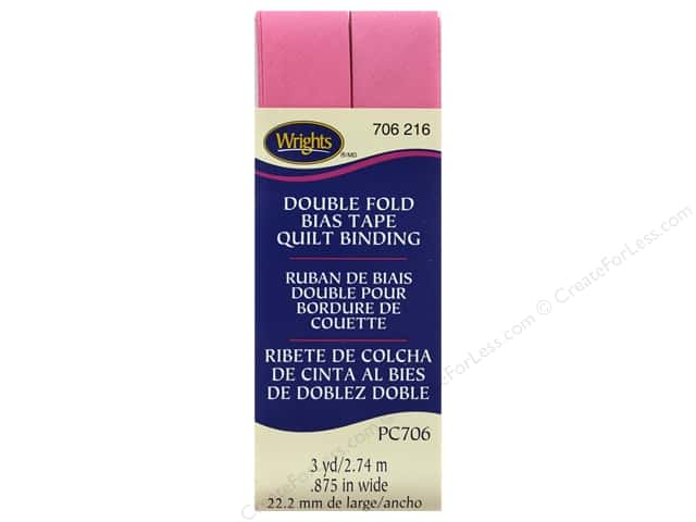 Wrights Double Fold Quilt Binding - Candy Pink 3 yd.