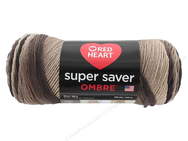 Coats & Clark Red Heart Super Saver Jumbo Yarn 10 oz Ombre Hickory