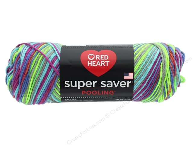 Coats & Clark Red Heart Super Saver Yarn 4 ply 5 oz Pooling Party