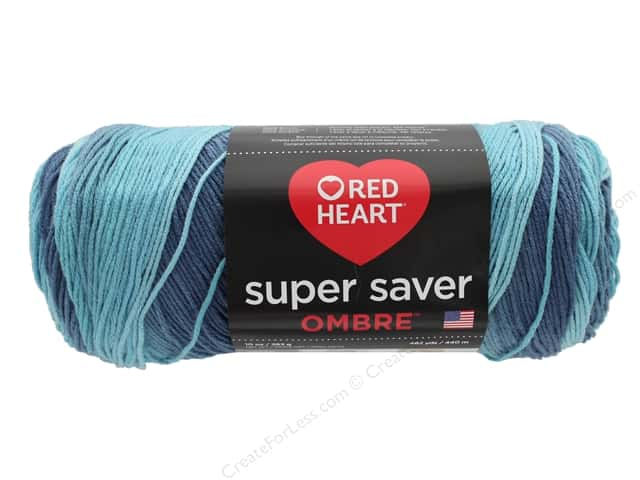 Coats & Clark Red Heart Super Saver Jumbo Yarn 10 oz Ombre Blue-tiful