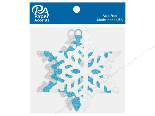 Paper Accents Glitter Shapes Ornament Snowflake Silver, White & Blue 6 pc