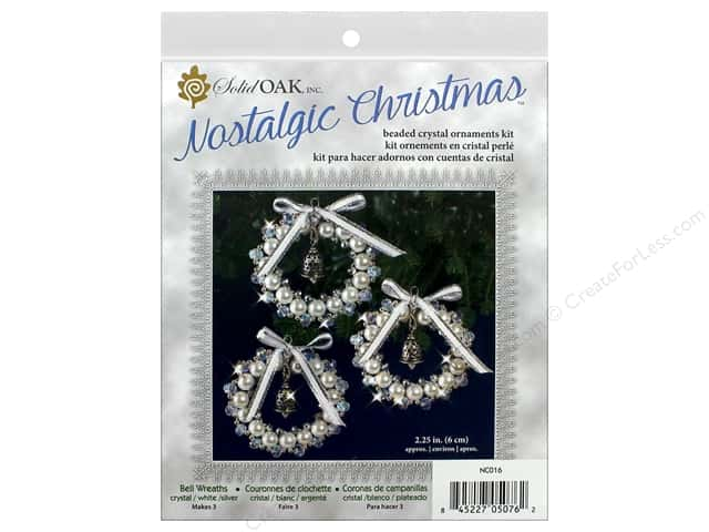 Solid Oak Kit Beaded Ornament Bell Wreath Crystal/White/Silver