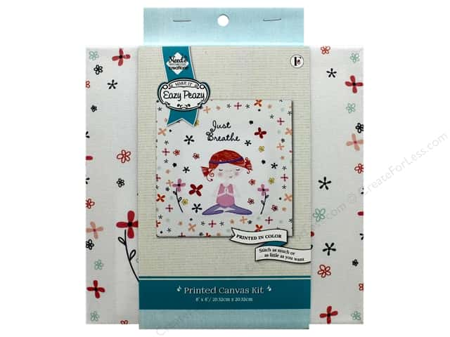 """Needle Creations Kit Embroidery Canvas 8""""x 8"""" Just Breathe"""