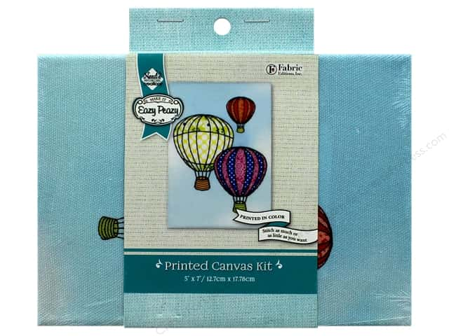 """Needle Creations Kit Embroidery Canvas 5""""x 7"""" Hot Air Balloon"""