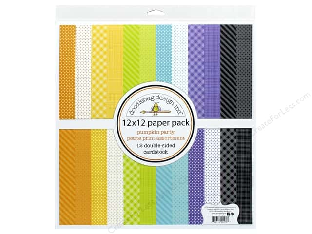 "Doodlebug Collection Pumpkin Party Paper Pack 12""x 12"" Petite Print"