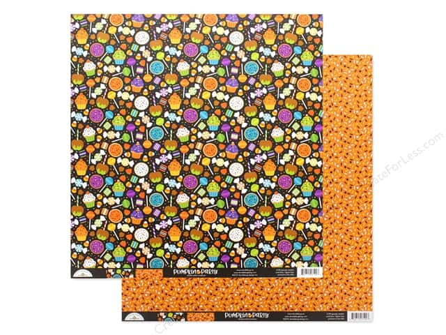 "Doodlebug Collection Pumpkin Party Paper 12""x 12"" Spooky Sweets"