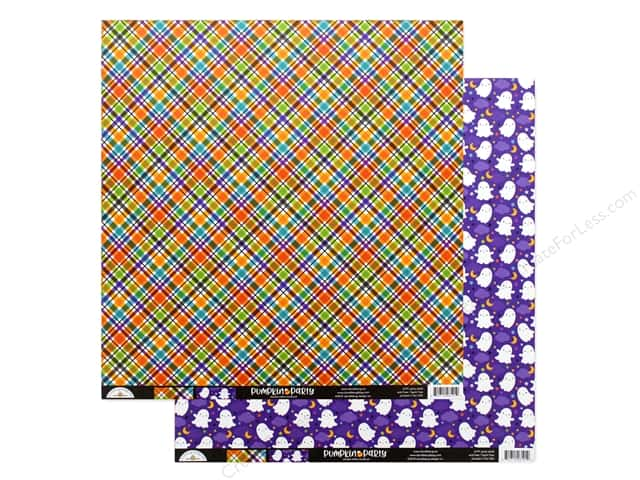 "Doodlebug Collection Pumpkin Party Paper 12""x 12"" Party Plaid"