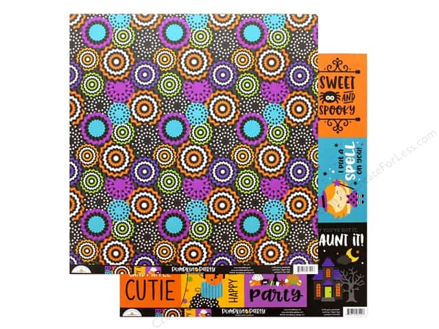 "Doodlebug Collection Pumpkin Party Paper 12""x 12"" Party Pinwheels"