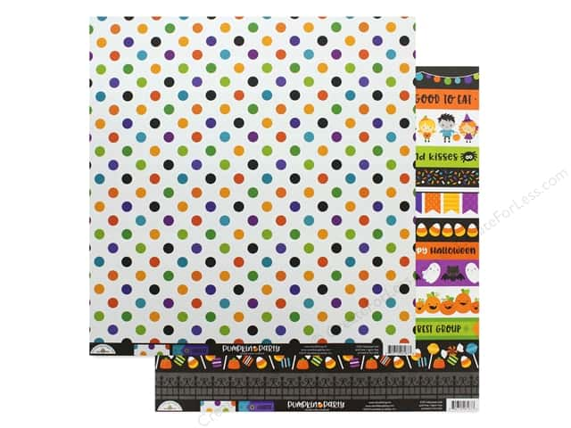 "Doodlebug Collection Pumpkin Party Paper 12""x 12"" Halloween Ball"