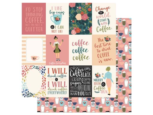 Echo Park Collection Coffee Paper 12 in. x 12 in. Journaling Cards 3 in. x 4 in.