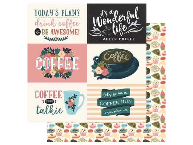 Echo Park Collection Coffee Paper 12 in. x 12 in. Journaling Cards 4 in. x 6 in. Horizontal