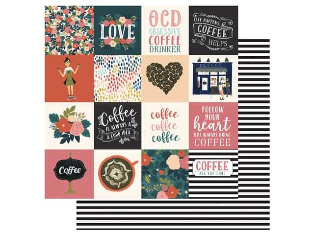 Echo Park Collection Coffee Paper 12 in. x 12 in. Journaling Cards 3 in. x 3 in.